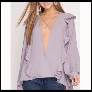Tops - Ruffle V-neck Blouse with Criss-cross Detail